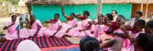 Women of PRADAN promoted self help groups during a meeting in Sundari village, Jharkhand, India, on April 19, 2015.